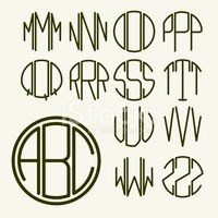 Template letters to create  monogram  inscribed in a circle