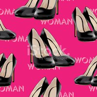 Womens high heel shoes, vector seamless pattern.