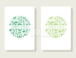 Floral frame, ornaments with floral elements for card