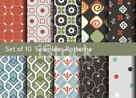 Abstract seamless patterns. Geometrical and ornamental motifs. C