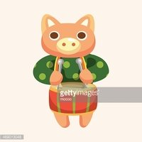 animal pig playing instrument cartoon theme elements