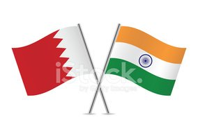 Indian and Bahrain flags. Vector.