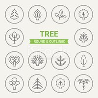 Set of round and outlined tree icons