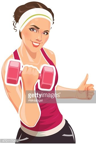 Girl With Dumbbells For Fitness Stock Vectors Clipart Me