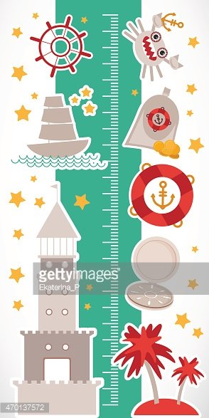 Nautical Sea Animals Boats Lighthouse Children Height Meter Wall Sticker