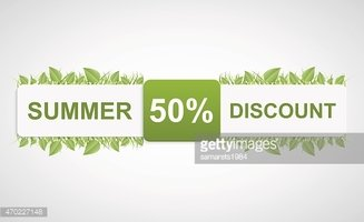 Nature discounted tag. Paper label with green leaves.