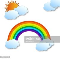 Rainbow with clouds and sun
