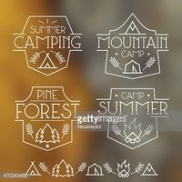 Camping badges and icons