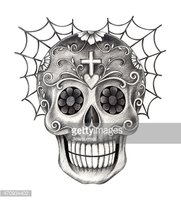 Art skull smiley face on cobweb Day of the dead.