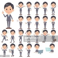 Set of various poses of Gray Suit Businessman
