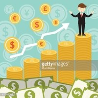 Rich and Success Businessman on Top of Gold Coins