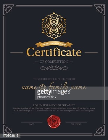 Template design of a certificate of completion