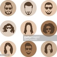 Vector Set of Hairstyles Icons