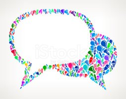 Two Speech Bubbles on Vector Light Bulb Pattern Background stock