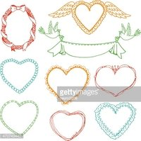 Doodle hand drawn heart shape frames and floral wreaths