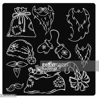 vector illustration silhouettes of Christmas items