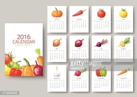 Wall calendar 2016 - polygonal vegetables. Vector illustration