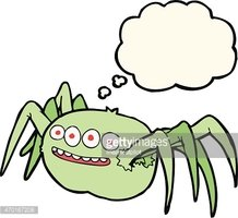 cartoon spooky spider with thought bubble