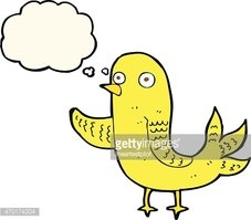 cartoon waving bird  with thought bubble