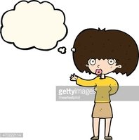 cartoon woman gesturing with thought bubble