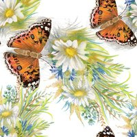 Butterflies picture seamless pattern with flowers