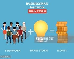 Brain storm on blue background,clean vector