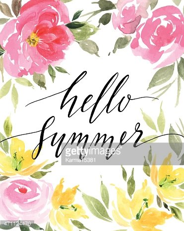 Colorful floral illustration with summer text