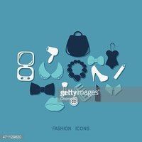 Flat concept, set modern design fashion, beauty, jewelry