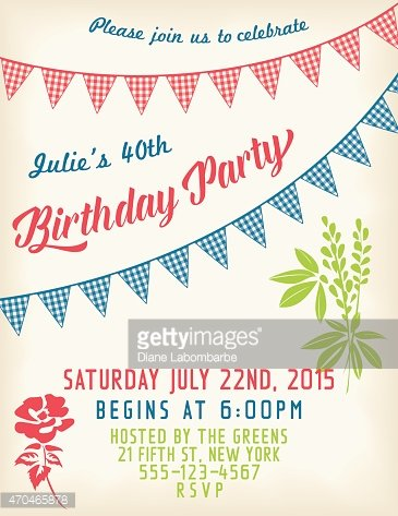 retro birthday party invitation template with bunting flags and text