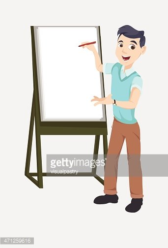 Asian Young Guy Explaining on A Blank Canvas