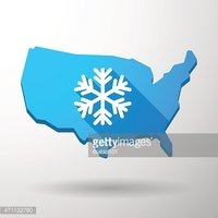 USA map icon with a snow flake