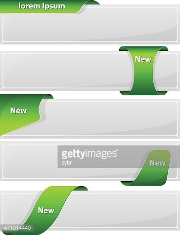 Web button with green ribbon