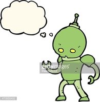 cartoon alien robot with thought bubble