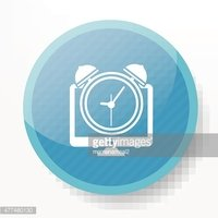 Clock on blue button design,clean vector