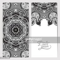 grey decorative label card for vintage design, ethnic pattern