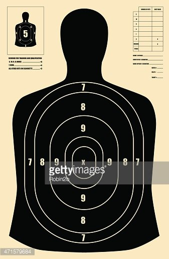 Black Shooting Target In Shape Of Human Silhouette Stock