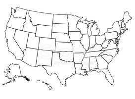 USA,Map,Cartography,Outline...