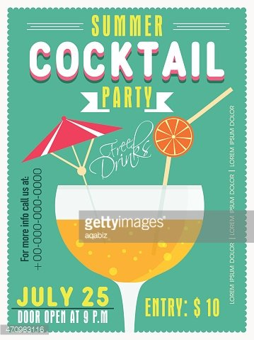 Invitation card for summer cocktail stock vectors for Summer drinks for party