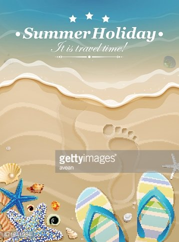 Summer holiday background with footprints in sand.