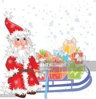 Christmas card with Santa Claus and gifts