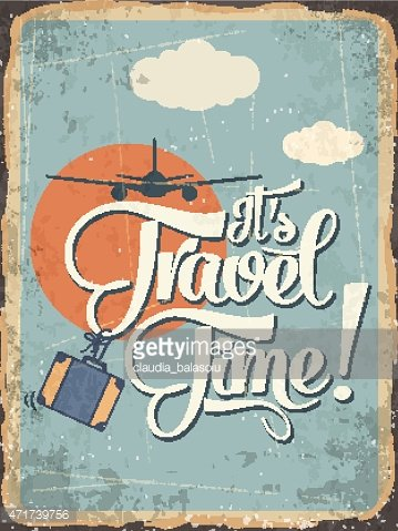 Retro metal sign 'it's travel time'