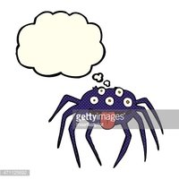 cartoon gross halloween spider with thought bubble