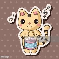 animal playing instrument cartoon theme elements