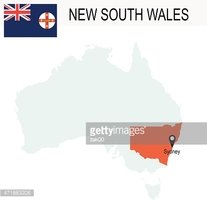 Australia Territories Of New South Walley's map and Flag