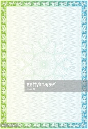 Blank Certificate With Green And Blue Border Stock Vectors