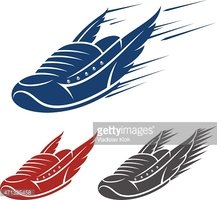 Running Winged Shoe Icons With Speed and Motion Trails stock ...