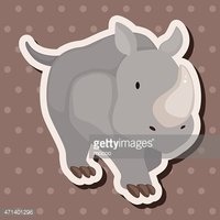 animal rhinoceros cartoon theme elements