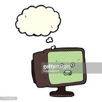 cartoon computer screen with thought bubble