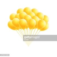 Vector bunch birthday or party yellow balloons