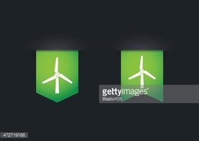 Ribbon icon set with a wind generator